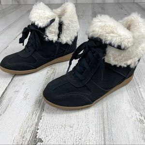 JUSTICE wedge fur boots